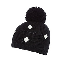 H! by Henry Holland - Black spotted bobble hat