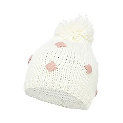 H! by Henry Holland - Cream spotted bobble hat