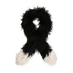 H! by Henry Holland - Black tipped fluffy scarf