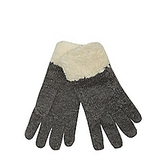 Mantaray - Grey fleece lined knitted gloves