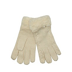 Mantaray - Cream fleece lined knitted gloves