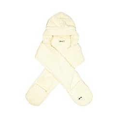 Mantaray - Cream textured fleece hooded scarf with mittens
