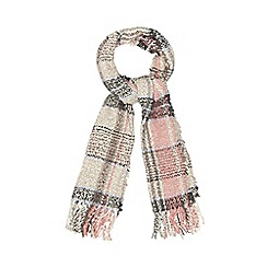 Mantaray - Cream checked boucle scarf