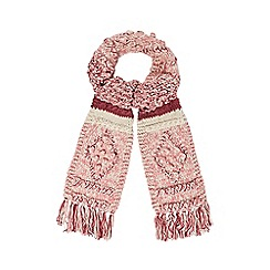 Mantaray - Pink chunky diamond knit scarf