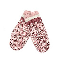 Mantaray - Pink diamond knit mittens