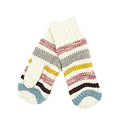 Mantaray - Cream striped mittens