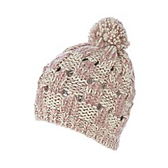 Mantaray - Pink basket weave knitted beanie hat