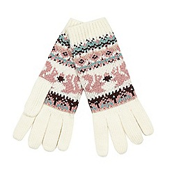 Mantaray - Pink animal Fair Isle gloves