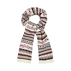Mantaray - Pink animal Fair Isle print scarf