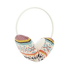Mantaray - Cream aztec earmuffs