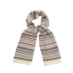 Mantaray - Cream Fair Isle knit scarf