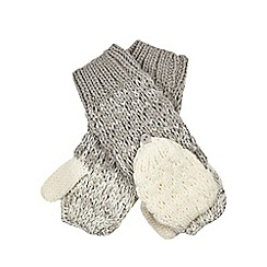 Mantaray - Grey ombre-effect knitted gloves