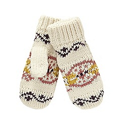 Mantaray - Cream Nordic-inspired fleece mittens