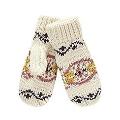 Mantaray - Cream Nordic-inspired fleece mittens