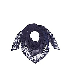 Red Herring - Navy sequin lace scarf