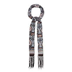 Red Herring - Multi-coloured printed fringe skinny scarf