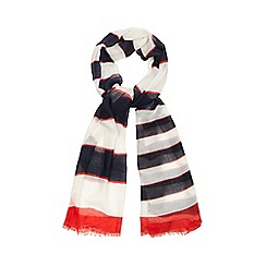 Red Herring - Navy blue and red striped scarf