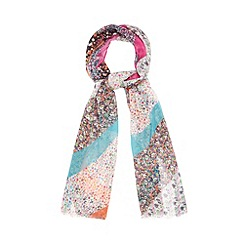 Red Herring - Multi-coloured floral striped print scarf