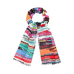 Red Herring - Multi-coloured striped print scarf