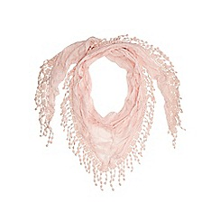 Mantaray - Pink crochet trim scarf
