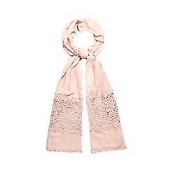 Mantaray - Pink crochet border scarf