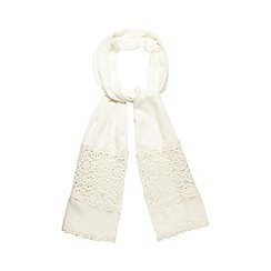 Mantaray - Cream crochet border scarf