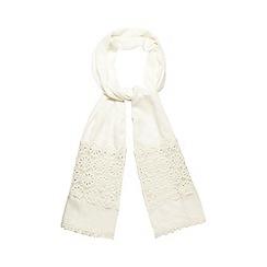 Mantaray - Cream crochet border scarf