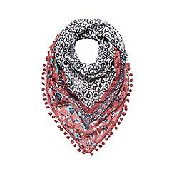 Mantaray - Dark pink pom pom trim scarf