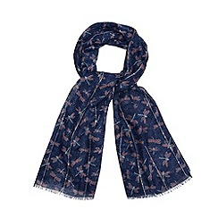 Mantaray - Navy dragonfly sequin scarf
