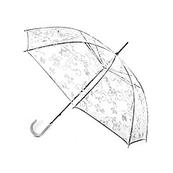Isotoner - White floral PVC walking umbrella