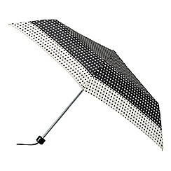 Isotoner - Black and cream supermini polka dot umbrella
