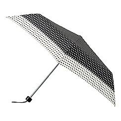 Isotoner - Black and cream supermini polka dot umbrella