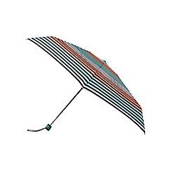 Isotoner - Coral and aqua stripe supermini umbrella