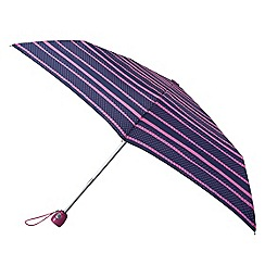 Isotoner - Navy and pink stripe automatic umbrella