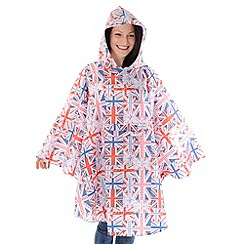 Totes - Red 'union jack' flag rain poncho