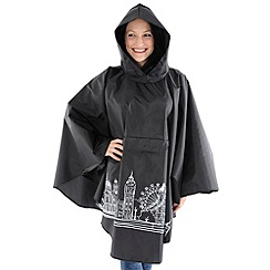 Totes - Black london skyline rain poncho