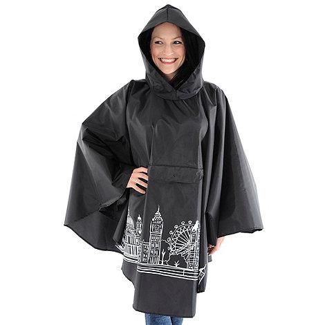 Totes - Black london skyline rain poncho