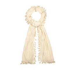 Nine by Savannah Miller - Ivory silk blend tassel scarf