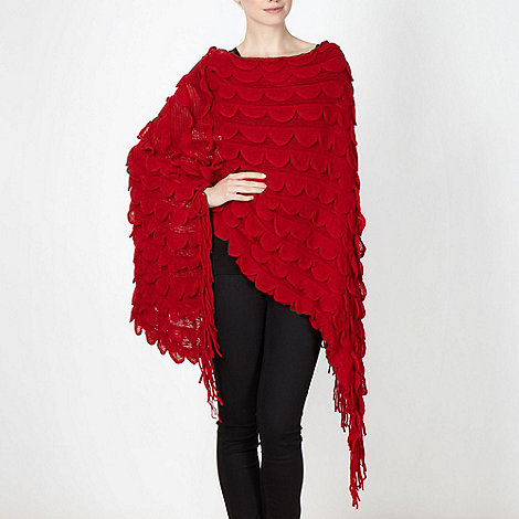 The Collection - Red scalloped knitted poncho