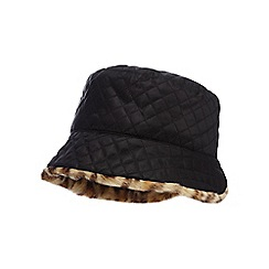 The Collection - Black reversible quilted hat with leopard faux fur
