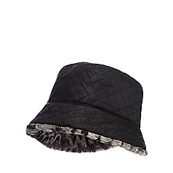 The Collection - Grey reversible quilted hat with leopard faux fur