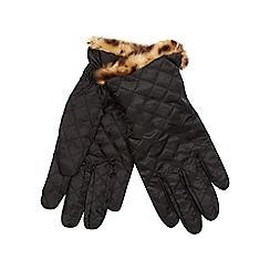 The Collection - Black quilted leopard print faux fur trim gloves