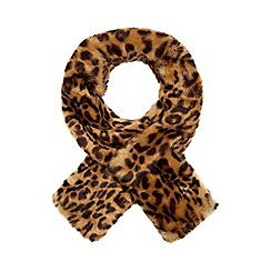 The Collection - Brown faux fur leopard print scarf
