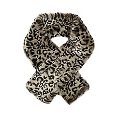The Collection - Grey leopard print faux fur scarf