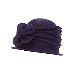 The Collection - Purple wool floral cloche hat