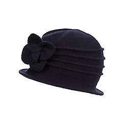 The Collection - Black wool cloche flower hat