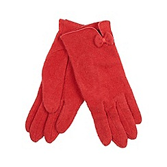 The Collection - Red bow and trim wool rich blend gloves