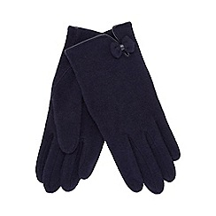 The Collection - Navy wool rich bow applique gloves