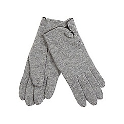 The Collection - Grey bow and trim wool blend gloves