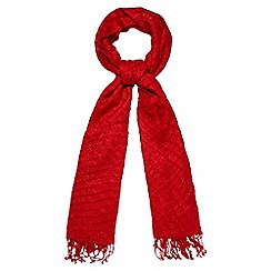 The Collection - Red sparkle pleated scarf